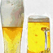 Two Glass Of Beer Painting Poster