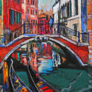 Two Gondolas In Venice Poster