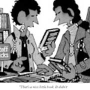 Two Guys Discuss The Value Of Books At A Library Poster