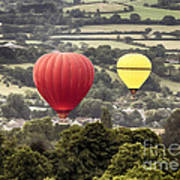 Two Hot Air Baloons Drifting Poster