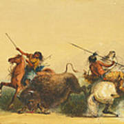 Two Indians Killing A Buffalo Poster