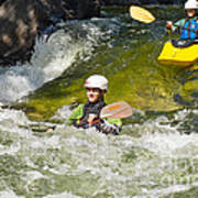 Two Kayakers On A Fast River Poster
