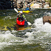 Two Kayakers On A Whitewater Course Poster