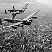 Two Lancasters Over London Black And White Version Poster