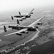 Two Lancasters Over The Upper Thames Black And White Version Poster