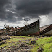 Two Large Boats Abandoned On The Shore Poster