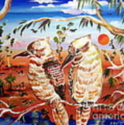 Two Laughing Kookaburras In The Outback Australia Poster