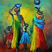 Two Little Girls Carrying Water Poster