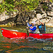 Two Men In A Tandem Canoe Poster