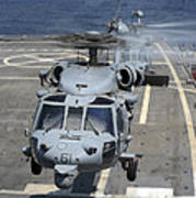 Two Mh-60s Sea Hawk Helicopters Take Poster by Stocktrek Images
