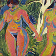 Two Nude Women In A Wood Poster by Ernst Ludwig Kirchner