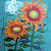 Two Orange Sunflowers Poster