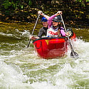 Two Paddlers In A Whitewater Canoe Making A Turn Poster