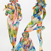 Two Psychedelic Girls With Chimp And Banana Portrait Poster by Fabrizio Cassetta