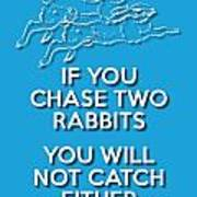 Two Rabbits Blue Poster