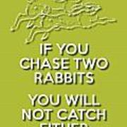 Two Rabbits Green Poster