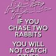 Two Rabbits Violet Poster