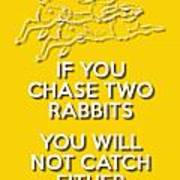 Two Rabbits Yellow Poster