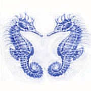 Two Seahorses- Blue Poster