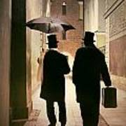Two Victorian Men Wearing Top Hats In The Old Alley Poster