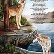 Two Wolves- Poster Poster by Dorothy Riley
