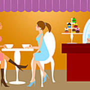 Two Woman Friends Having Coffee Poster