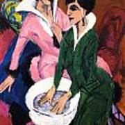 Two Women With A Washbasin Poster