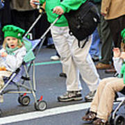 Two Young Girls Marching In The 2009 New York St. Patrick Day Parade Poster