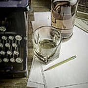 Typewriter And Whiskey Poster