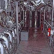 U S S Bowfin Submarine Engine Room Poster
