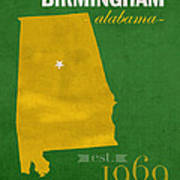 Uab University Of Alabama At Birmingham Blazers College Town State Map Poster Series No 009  Poster