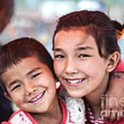 Uighur Children At Kashgar Market Xinjiang China Poster
