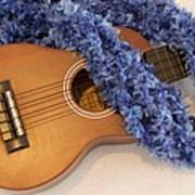 Ukulele And Blue Ribbon Lei Poster