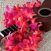 Ukulele And Red Lei Poster
