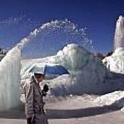 Umbrella Man At Frozen Fountain Poster