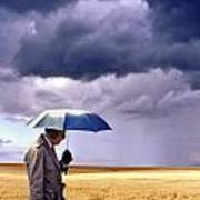 Umbrella Man In Kansas Wheat Field Poster