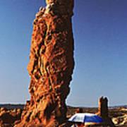 Umbrella Man In The Desert Poster