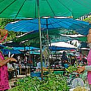 Umbrellas In The Marketplace In Tachilek-burma Poster