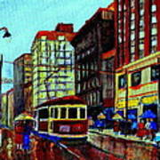 Umbrellas In The Rain Couples Stroll St.catherine Street Downtown Montreal Vintage  City Scene  Poster