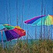 Umbrellas On Sanibel Island Beach Poster