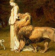 Una And Lion From Spensers Faerie Queene Poster by Briton Riviere