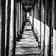 Under Huntington Beach Pier Black And White Picture Poster