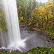 Under The Falls With Autumn Colors In Oregon Poster
