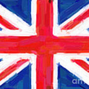 Union Jack Flag Painting Poster