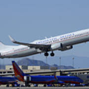 United Boeing 737-924 N75436 Continental Retro Taking Off Phoenix Sky Harbor March 6 2015 Poster