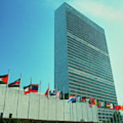 United Nations Building With Flags Poster