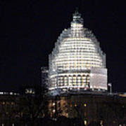 United States Capitol Dome Scaffolding At Night Poster