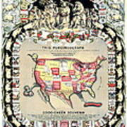 United States Map 1876 Poster