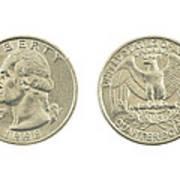 United States Quarter On White Background Poster