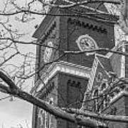 University Hall Tower Black And White  Poster